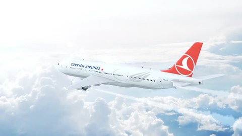 ISTANBUL, TURKEY - AUGUST 17, 2017: Turkish Airlines Boeing 777 on approach to runway at the Ataturk International airport.