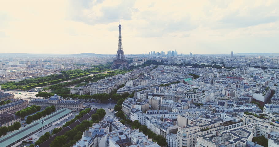 Aerial Eiffel tower Paris France | Shutterstock HD Video #30256219