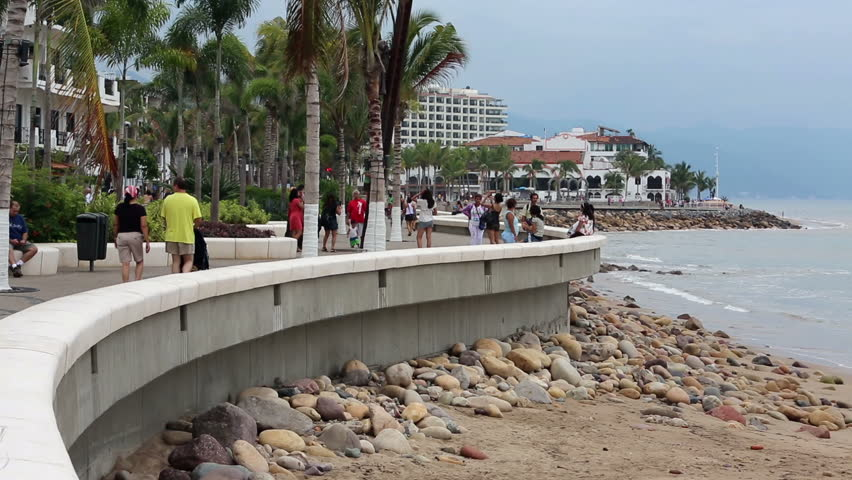 PUERTO VALLARTA, MEXICO - NOV 4: Boardwalk and Malecon beach and tourist area on shore of Banderas Bay on edge of Pacific Ocean on November 4, 2012 in Puerto Vallarta, Mexico.
