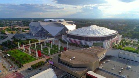 ATLANTA, GA, USA - AUGUST 10, 2017: Aerial flyover Mercedes Benz Stadium Atlanta