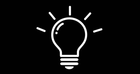 Light Bulb on black background. Idea pop-up. Solution. Thinking. Lighting Electric lamp. Light Bulb in line style. Flat design.