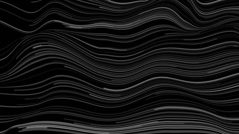Loopable 3d render background. Particles lines on distorted surface. Abstract background. Displacement geometry.