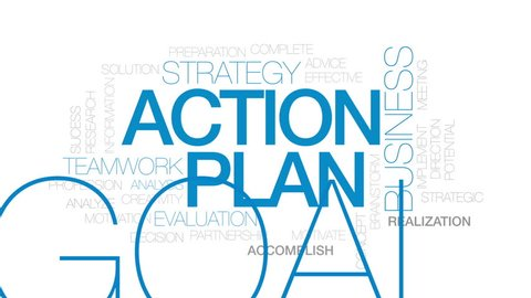 Action plan animated word cloud, text design animation. Kinetic typography.