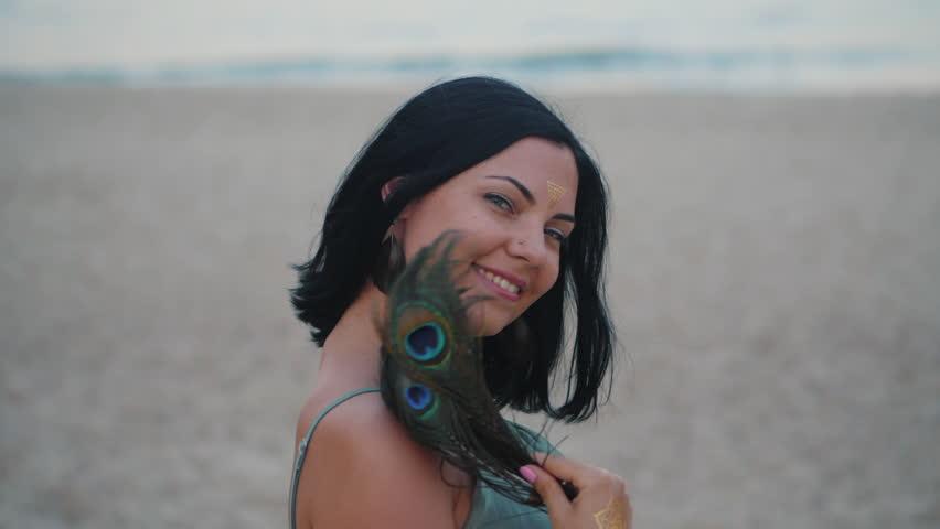 Flash at beach Girl