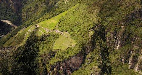 Machu Picchu Peru Aerial v11 Birdseye view flying around ancient ruins panning up