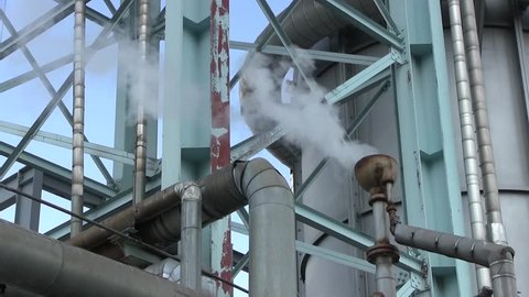 Chemical Plant For Processing Gas. Industrial Plant Produces Combustible Fuel Commodity, Such As Methane, Methanol. Underground Storage of Natural Gas. Many Pipelines And Construction