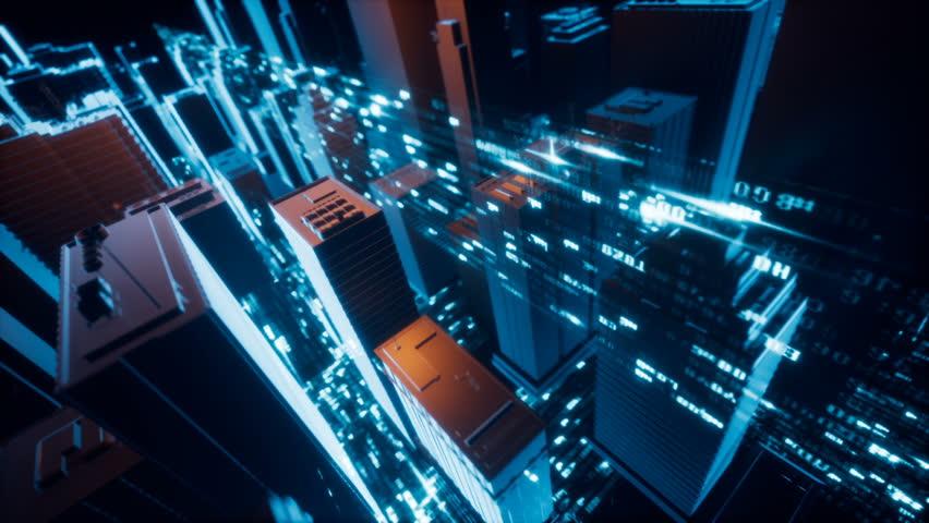 City Tech Digital Cy-ber Space Data Connection | Shutterstock HD Video #30360439