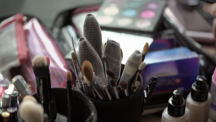 Professional makeup brushes indoors closeup | Shutterstock HD Video #30429049
