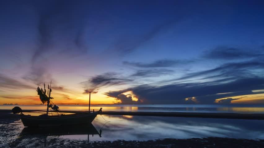 Dawn At Pranburi Beach Prachuap Khiri Khan Province Southern Region Thailand With Small