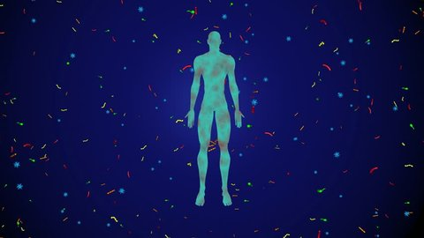 Microbiome bacteria, viruses, microbes surrounding  man, male body. 3d animation. blue , black background, full screen bacteria spread