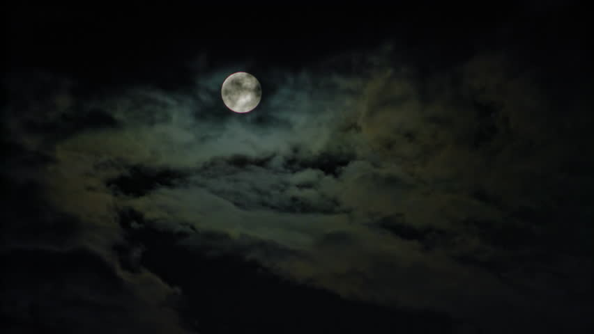 New moon and clouds in the pitchblack sky. Long shot | Shutterstock HD Video #30475741