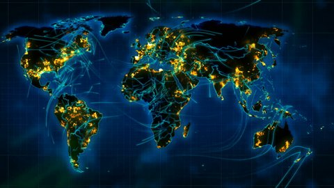 Impressive 3d rendering of the weather world map with illuminated cities, dark green forests, blue oceans and seas, moving lines of winds and hurricanes