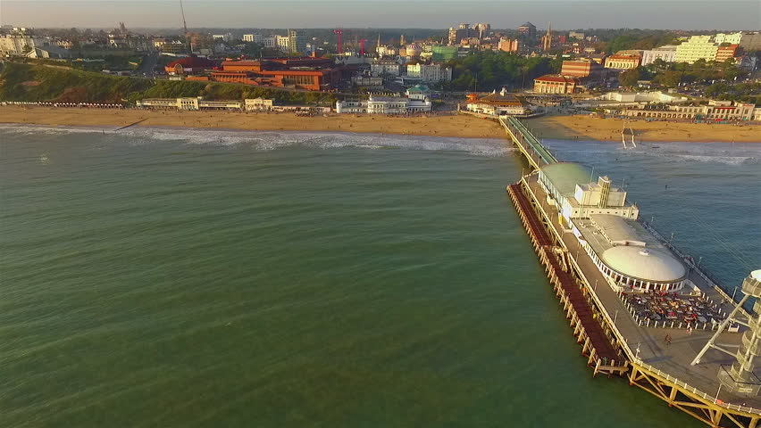 Bournemouth, Dorset, England.  Aerial view of holiday and conference town Bournemouth, showing beach and pier, September 2017