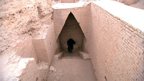 TELL EL-MUQAYYAR, IRAQ - CIRCA 2002: Zoom-in to entrance of Shulgi's tomb, the second king in the Third Dynasty of Ur, who completed the construction of the Great Ziggurat