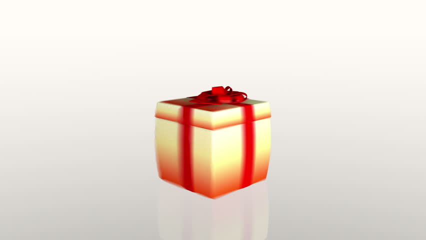 Gift box opening lid to present a tablet, against white