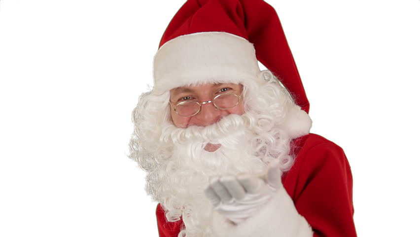Santa Claus Presenting a white sheet with Merry Christmas, sends a Kiss and