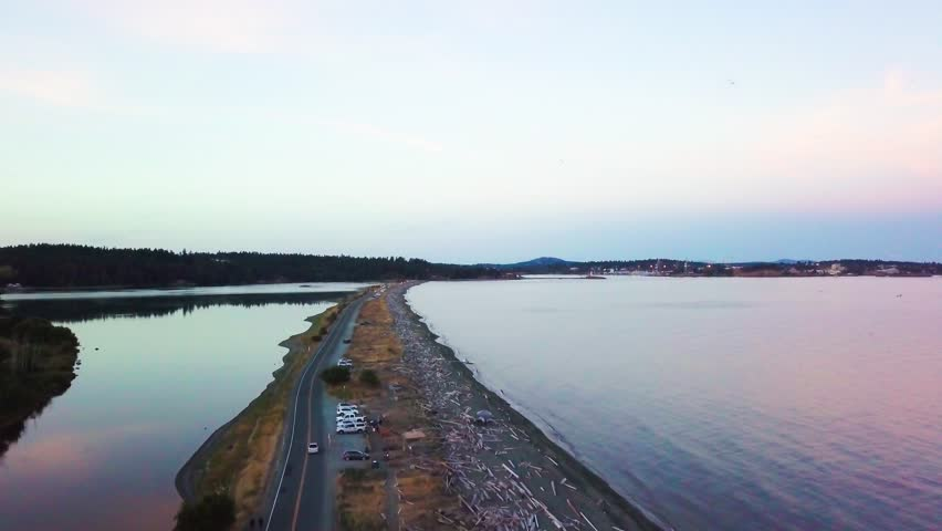 Wonderful evening in Esquimalt lagoon aerial view, Colwood, Vancouver Island   Shutterstock HD Video #30574459