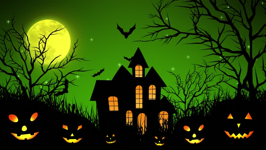 Halloween background animation with the concept of Spooky Pumpkins, Moon and Bats and Haunted Castle. | Shutterstock HD Video #30577729