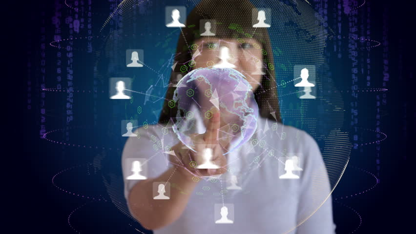 Woman touches a screen to reveal an animation of her social network | Shutterstock HD Video #3061099
