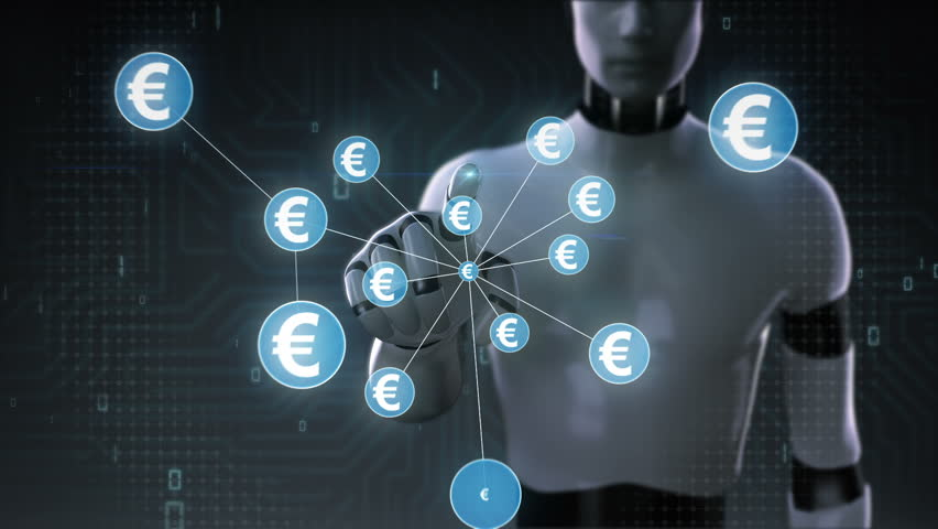 Robot, cyborg touching Euro symbol, Numerous dots gather to create a Yen currency sign, dots makes global world map, internet of things. financial technology 2. | Shutterstock HD Video #30618379