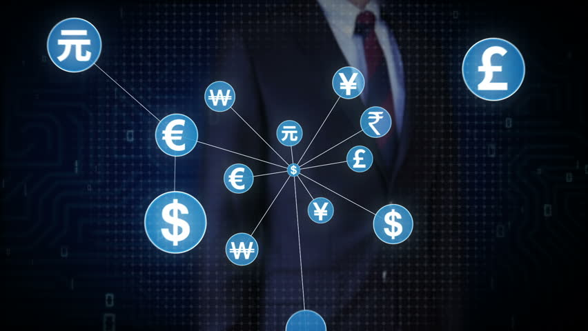 Businessman touching World currency symbol, Numerous dots gather to create a currency sign, dots makes global world map, internet of things. financial technology 1. | Shutterstock HD Video #30618409