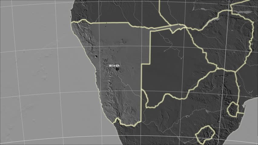 The Botswana Area Map In The Azimuthal Equidistant Projection
