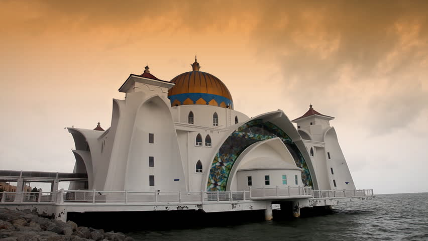 Selat Mosque in Malacca island Malaysia also known as Malacca Straits mosque