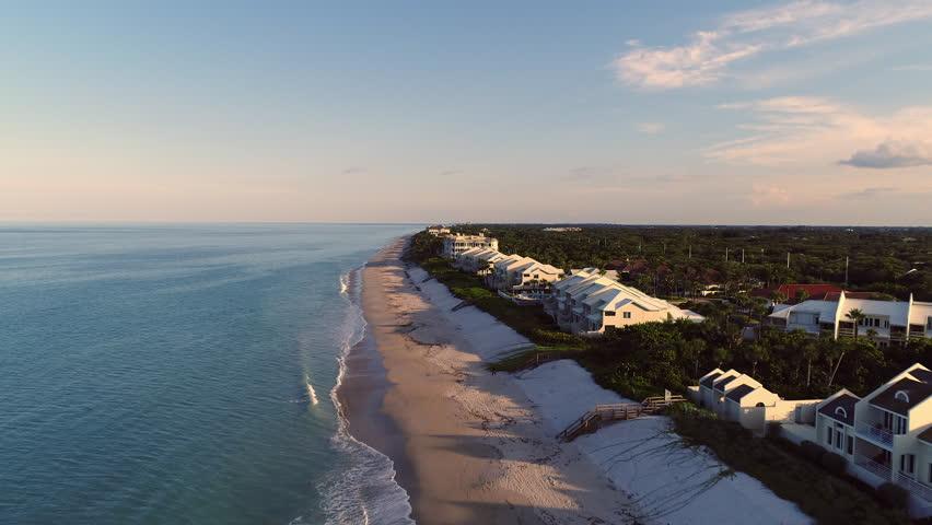Vero Beach coastline in Treasure Coast, Florida. Aerial.