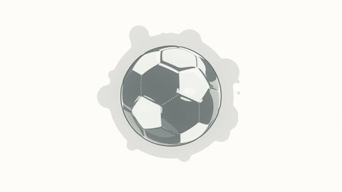 Animation rotation of sport ball in flat icon style on colorful background with circle with flying particles. Line art style. Animation of seamless loop.
