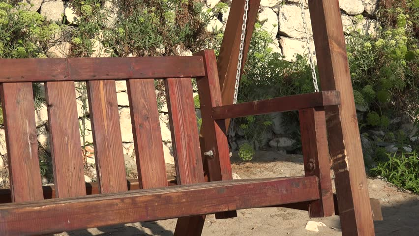4K Rocker chair balancing in summer holiday in rural yard, recreation wooden cradle #30711031