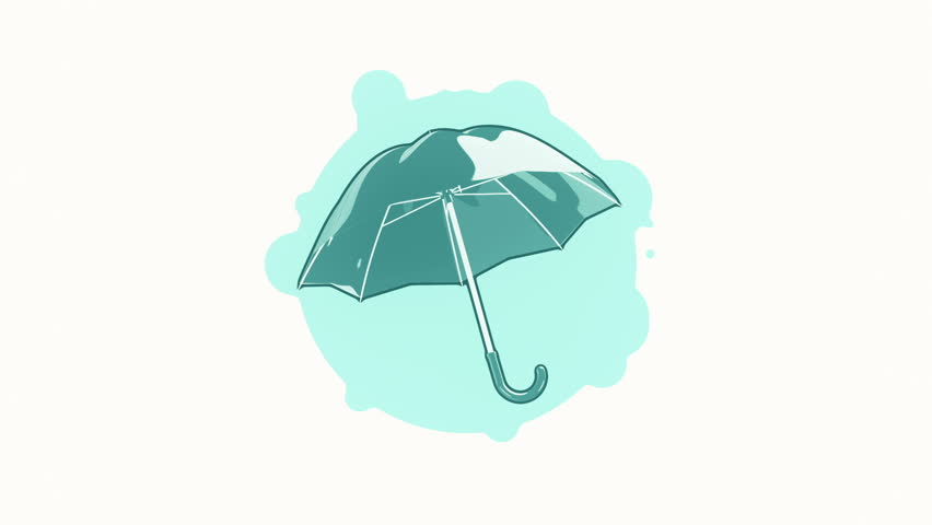 Line Art Umbrella : Animation rotation of umbrella in flat icon style on colorful