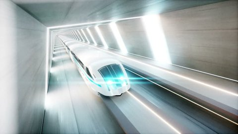 futuristic modern train, monorail fast driving in sci fi tunnel, coridor. Concept of future. Realistic 4k animation.