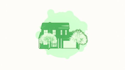 Animation rotation of house or building in flat icon style on colorful background with circle with flying particles. Line art style. Animation of seamless loop.