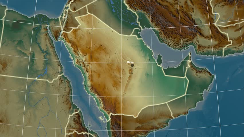The Saudi Arabia area map in the Azimuthal Equidistant projection. Layers of main cities, capital, administrative borders and graticule. Relief map