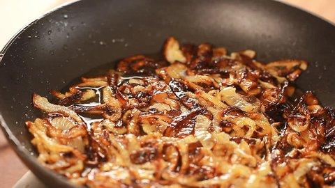 Fried onion Arabic Comfort Food Majadrah – Lentils, Onions Middle Eastern cuisine