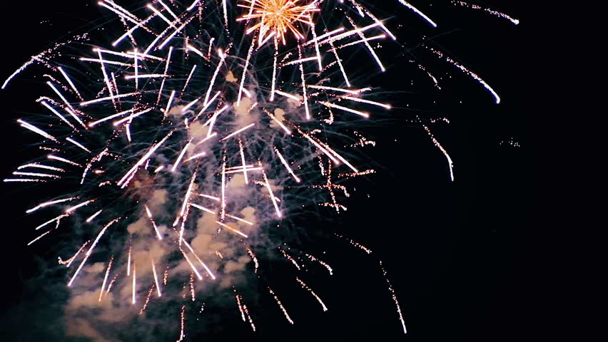 Beautiful fireworks show in the night sky hd | Shutterstock HD Video #30840979