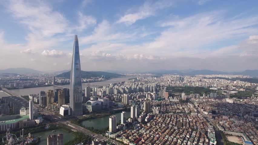 Aerial Footage of korea city,seoul cityscape, skyline , Lotte Tower, Jamsil