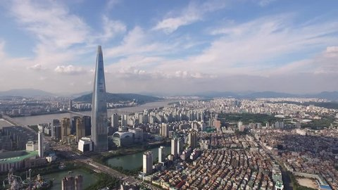 Aerial Footage of korea city,seoul cityscape, skyline , Lotte Tower, Jamsil