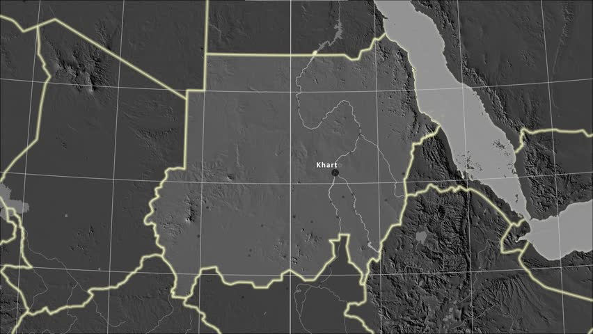 The Sudan area map in the Azimuthal Equidistant projection. Layers of main cities, capital, administrative borders and graticule. Elevation & bathymetry - grayscale contrasted