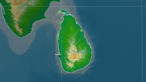 The Sri Lanka area map in the Azimuthal Equidistant projection. Layers of main cities, capital, administrative borders and graticule. Colored physical map