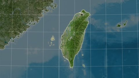 The Taiwan area map in the Azimuthal Equidistant projection. Layers of main cities, capital, administrative borders and graticule. Satellite imagery
