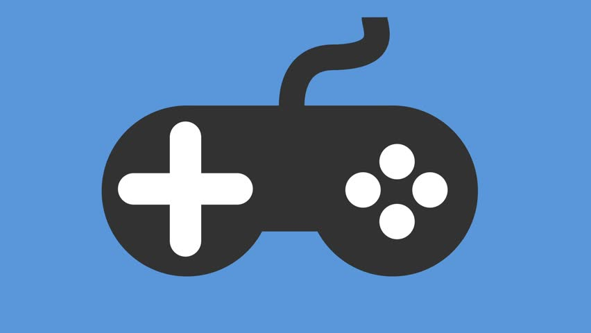 Modern video games controller icon on off animation blue | Shutterstock HD Video #30876589