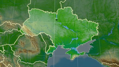 The Ukraine area map in the Azimuthal Equidistant projection. Layers of main cities, capital, administrative borders and graticule. Colored physical map