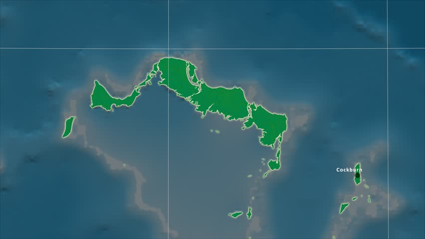 The Turks And Caicos Islands area map in the Azimuthal Equidistant projection. Layers of main cities, capital, administrative borders and graticule. Colored physical map