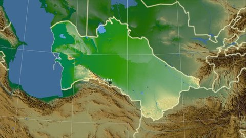 The Turkmenistan area map in the Azimuthal Equidistant projection. Layers of main cities, capital, administrative borders and graticule. Colored physical map