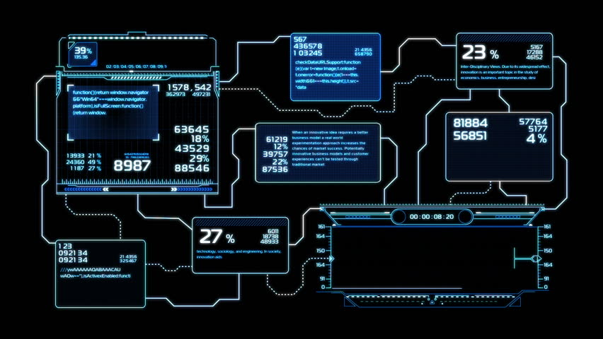 Beautiful Flowcharts Drawing Animation with Flashes Blue Color. Futuristic HUD with Numbers and Code Running. Head-up Display Computer Data. High Tech Concept Element. Full HD 1920x1080.