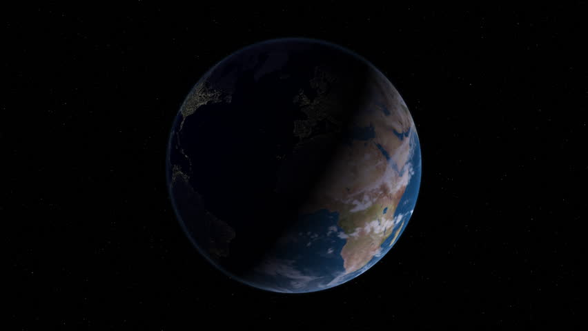 A time-lapse simulation of the Earth rotating from day into night. Loopable.