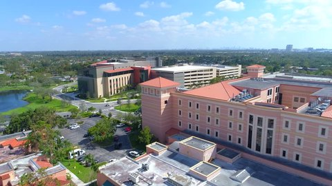 Miami, fl, usa - september 18, 2017: baptist hospital architecture miami fl  aerial video