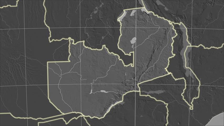 The Zambia area map in the Azimuthal Equidistant projection. Layers of main cities, capital, administrative borders and graticule. Elevation & bathymetry - grayscale contrasted