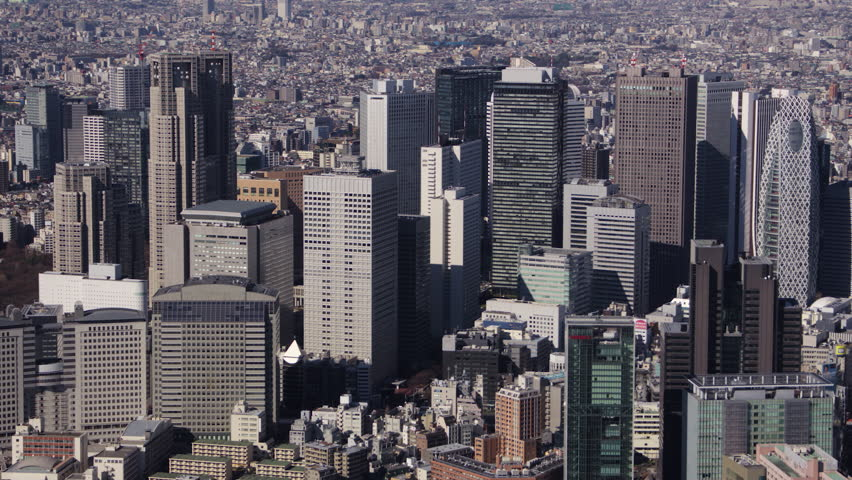 Japan Tokyo Aerial v94 Flying besides Shinjuku cityscape skyline panning 2/17 | Shutterstock HD Video #30982489